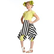 Girls Sprite Yellow Stripes Trendy Natalie Designer Dress 8