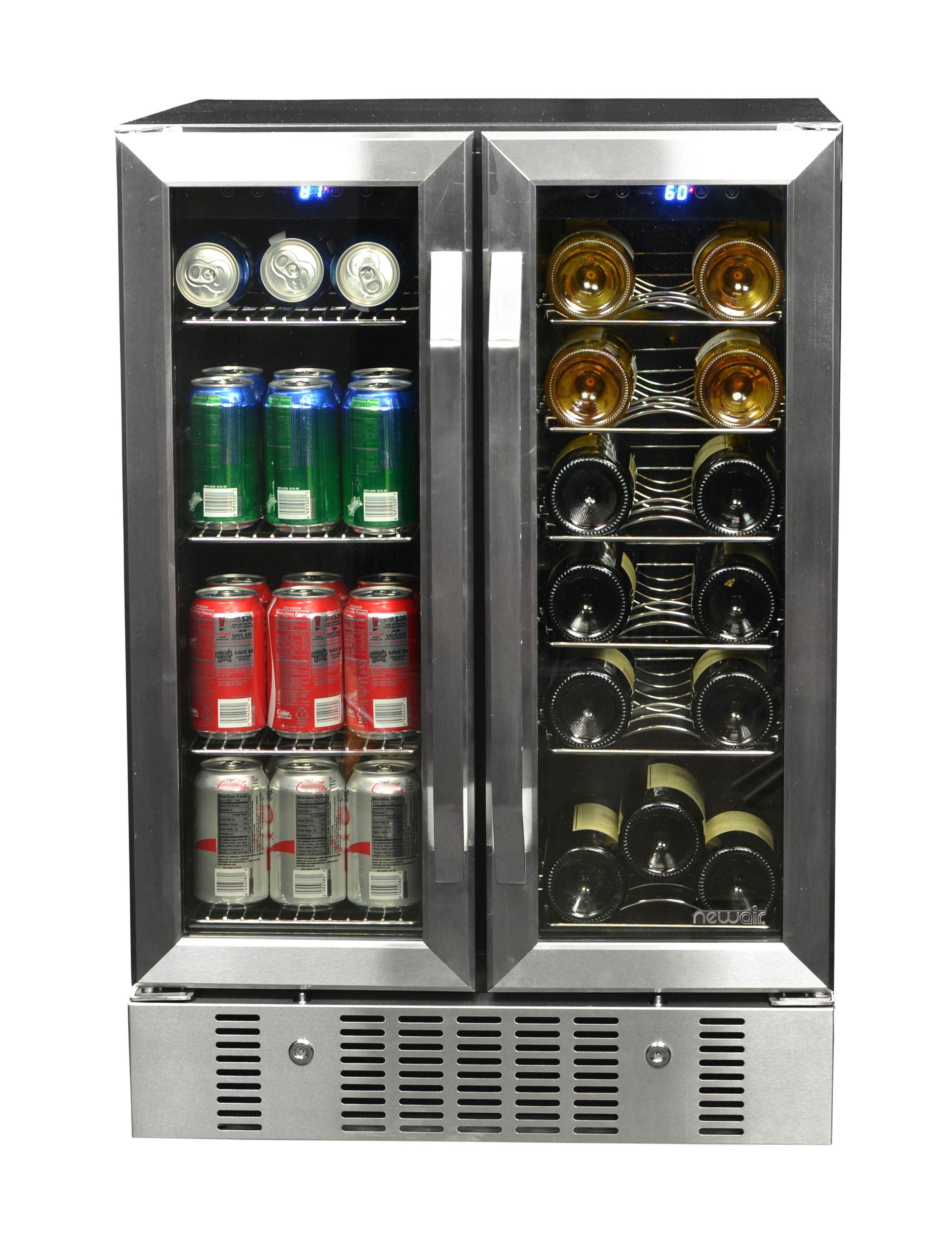 NewAir 18 Bottle & 60 Can Dual Zone Built in pressor Wine and