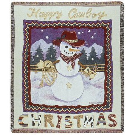 "Happy Cowboy Snowman Christmas Tapestry Throw 50"" x 60"""