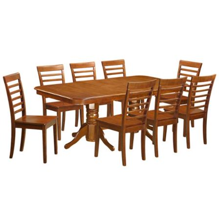 naml9 sbr 8 chair 9 piece dining room table set with leaf wood seat