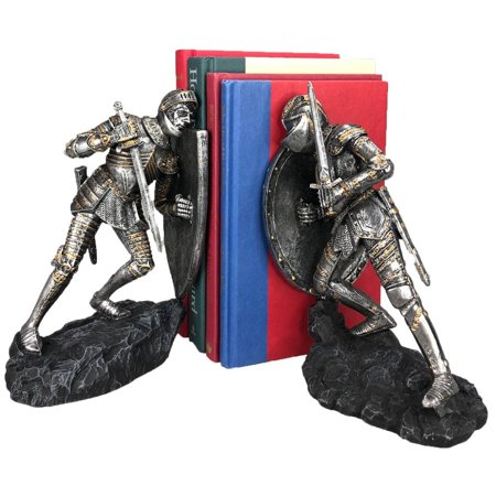 Medieval Time War Knights in Battle Decorative Bookends