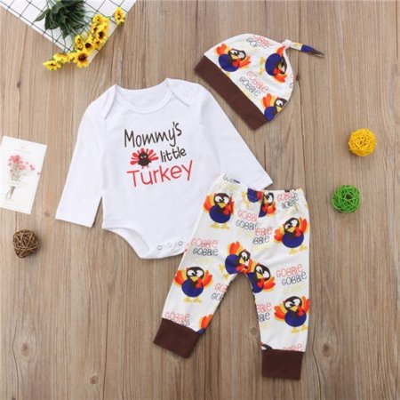 6805bc6ec 3pcs Cute Newborn Baby Boys Girls First Thanksgiving Tops Romper Long  Sleeve Top Pants Hat Outfits Set Clothes - Walmart.com