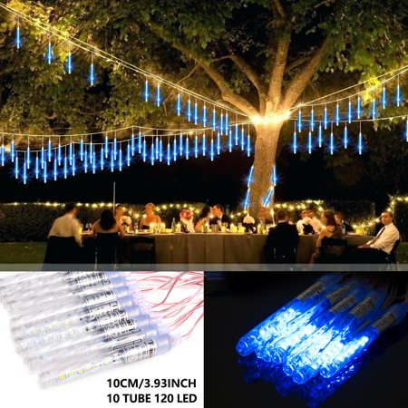 LUXMO Outdoor Meteor Shower Lights, Waterproof 10cm 10 Tube 120 LED Falling Snow Lights Christmas String Light for Garden Outdoor Patio Holiday Party Halloween Decoration ()