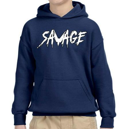 - New Way 788 - Youth Hoodie Savage Maverick Logang Logan Paul Unisex Pullover Sweatshirt XS Navy