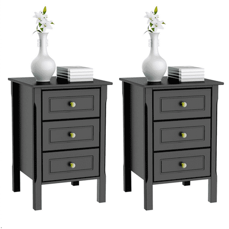 2 Set Of 3 Drawer Tall Nightstand End Table Bedside With Gold Handle Bedroom Furniture