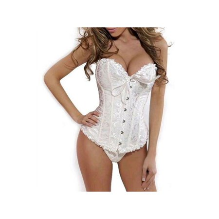 Vinyl Bustier Sexy Lingerie - Lavaport Women Lace Sexy Bustier Corset Basque Lace Up Lingerie G-string Set S-6XL