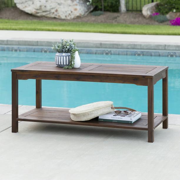 manor park outdoor acacia wood patio coffee table dark brown