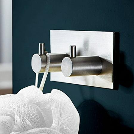 Lingstar SUS 304 Stainless Steel 3M Self Adhesive Bathroom Kitchen Towel Hanger Rack Wall Mount Brushed Finish (2-Hook)
