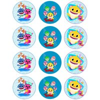 Baby Shark Edible Cupcake Toppers - 12 count