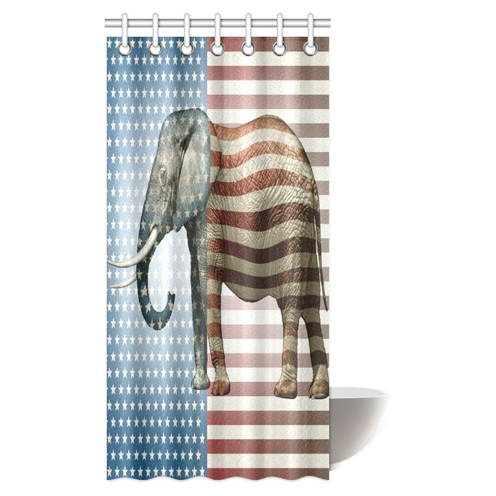 GCKG Elephant Decor Shower Curtain Vibrant With Stars And Stripe Fabric Bathroom Set Hooks 36x72 Inches