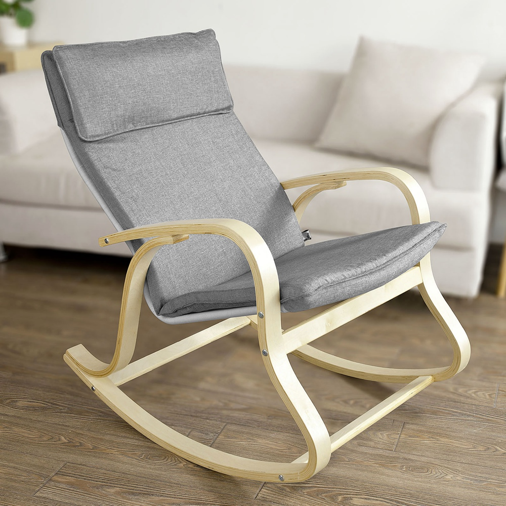 So Comfortable Relax Rocking Chair Gliders Lounge With Cotton Fabric Cushion Fst15 Dg Grey