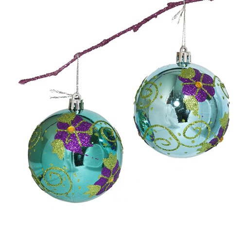Perfect Holiday 3.14'' Shatterproof Handpainted Flowers with Acrylic Diamonds Christmas Ball Ornament