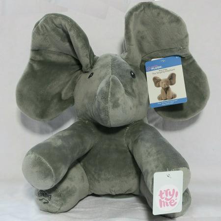 Singing Plush Flappy Grey Elephant Plays Peek a Boo and Sings