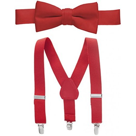 "Hold'Em Suspender and Bow Tie Set for Kids, Boys, and Baby - Proudly Made in USA - Extra Sturdy Polished Silver Metal Clips, Pre tied Bow Tie, 1"" Inch Suspender Perfect for Tuxedo-Red 30"