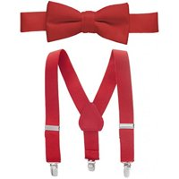 """Hold'Em Suspender and Bow Tie Set for Kids, Boys, and Baby - Proudly Made in USA - Extra Sturdy Polished Silver Metal Clips, Pre tied Bow Tie, 1"""" Inch Suspender Perfect for Tuxedo-Red 30"""""""