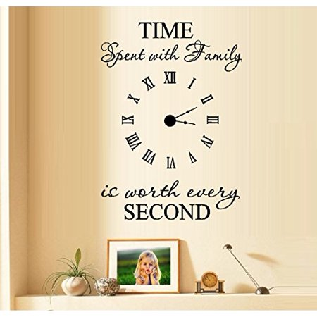 Decal ~ TIME SPENT WITH FAMILY IS WORTH EVERY SECOND #5: WALL DECAL, WITH DECAL CLOCK, 17