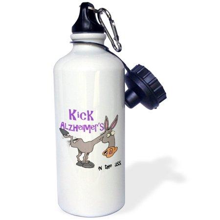 3dRose Kick Alzheimers In The Ass Awareness Ribbon Cause Design, Sports Water Bottle, 21oz - Als Awareness Ribbon