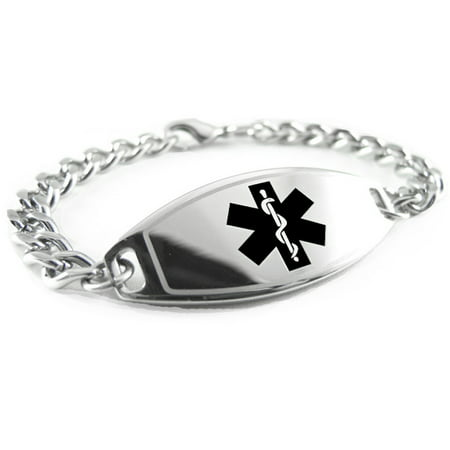 - MyIDDr - Pre-Engraved Diabetic Medical Alert Bracelet, Stainless Steel, Free Wallet Card Included - USA Seller