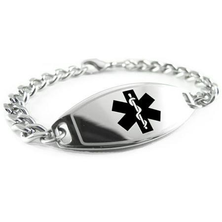 MyIDDr - Pre-Engraved Diabetes Type I Medical Alert Bracelet, Stainless Steel, Free Wallet Card Included - USA Seller - Free Medical Alert Bracelets