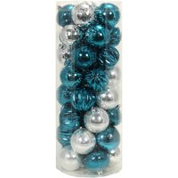 Holiday Time Teal/Silver Shatterproof Christmas Ornaments, Set of 50