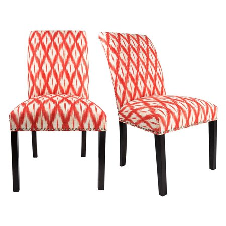 (Sole Designs Dayna Collection Curve Back Patterned Upholstery Dining Chair with Nailhead Trim and Spring Seating - Set of 2)