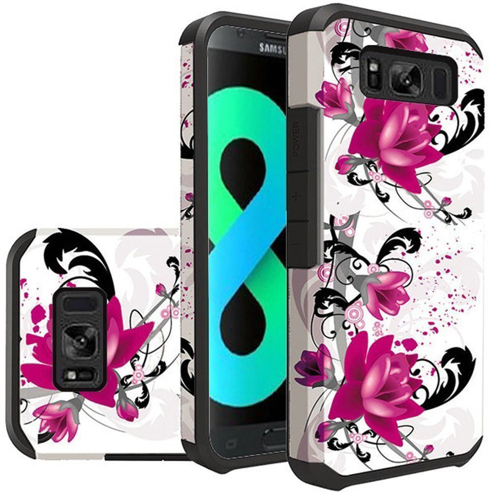 Samsung Galaxy S8 Plus Case, Samsung Galaxy S8+ Case, by Insten Lily Dual Layer [Shock Absorbing] Hybrid Hard Plastic/Soft TPU Rubber Case Cover For Samsung Galaxy S8 Plus S8+, White/Purple - image 1 de 1