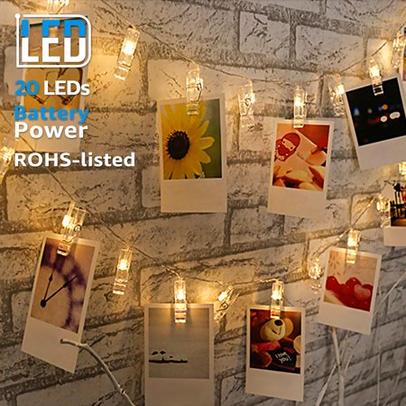 TORCHSTAR 7.22 ft 20 LEDs Photo Clip String Lights, Fairy String Lights with Clips for Hanging Pictures, Cards, Artwork, Warm White, Battery Operated
