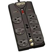 Tripp Lite 8 Outlet Surge Protector Power Strip, 10ft Cord Right Angle Plug, Tel/Modem/Coax/Ethernet, & $250K INSURANCE (TLP810NET)