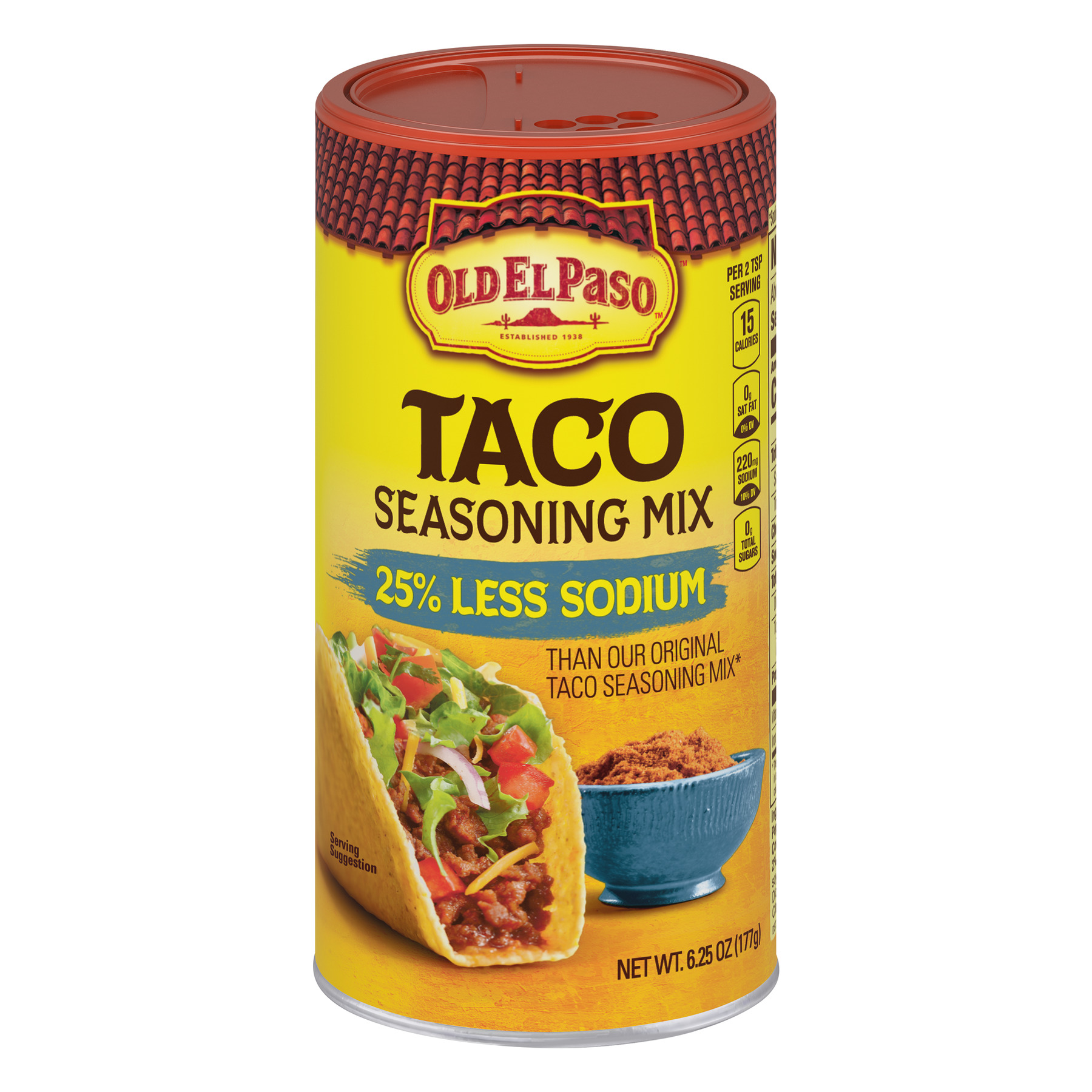 Old El Paso 25% Less Sodium Taco Seasoning Mix, 6.25 oz