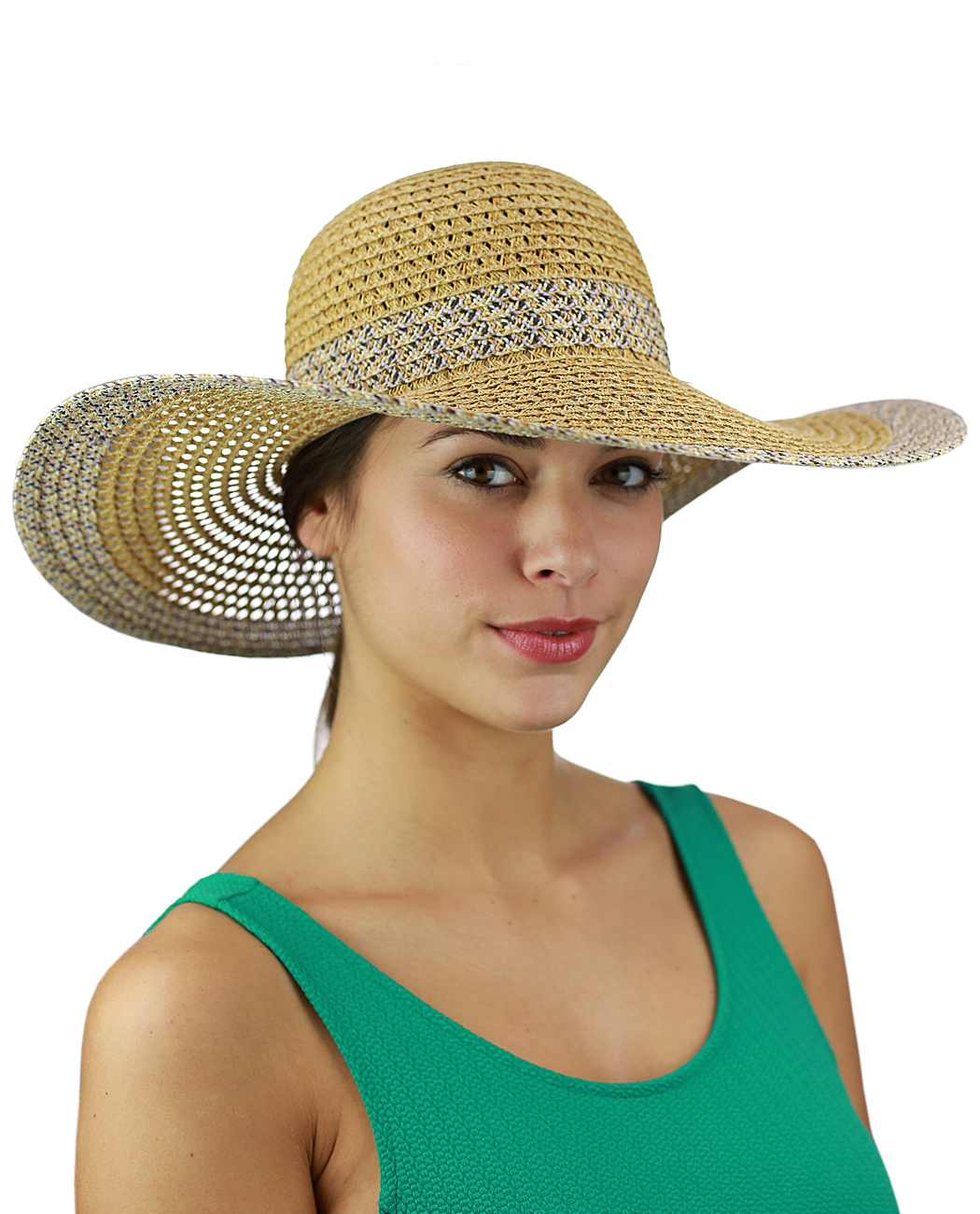 C.C Women's Open Weaved Multicolored Band and Wide Brim Floppy Summer Sun Hat, Lilac