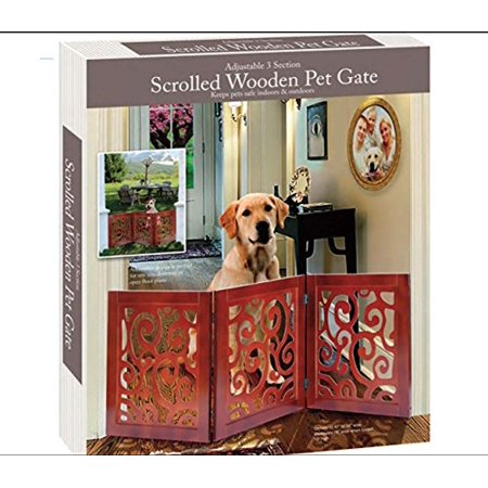 3-Section Adjustable and Scrolled Wooden Pet Gate by (Adjustable Pet Gate)