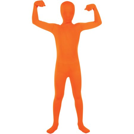 Boys Second Skin Orange Zentai Costume Jumpsuit](Zentai Halloween)