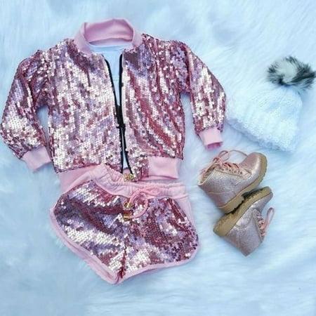 Toddler Kid Baby Girl Autumn Sequin Zipper Top Coat Jacket Shorts Pants Outfits