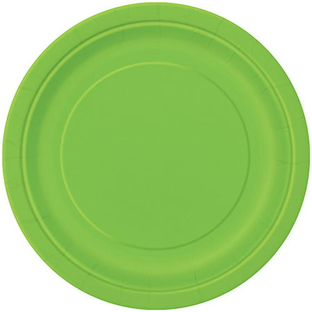 10 X Gold Plated - Paper Plates, 9 in, Lime Green, 16ct