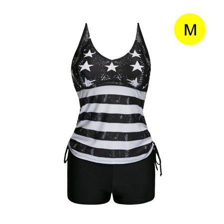 Striped Split Swimsuit Black and White Stripes Flat Angle Quick Drying Swimsuit European and American Style Conservative Belly Wrapped quick-drying