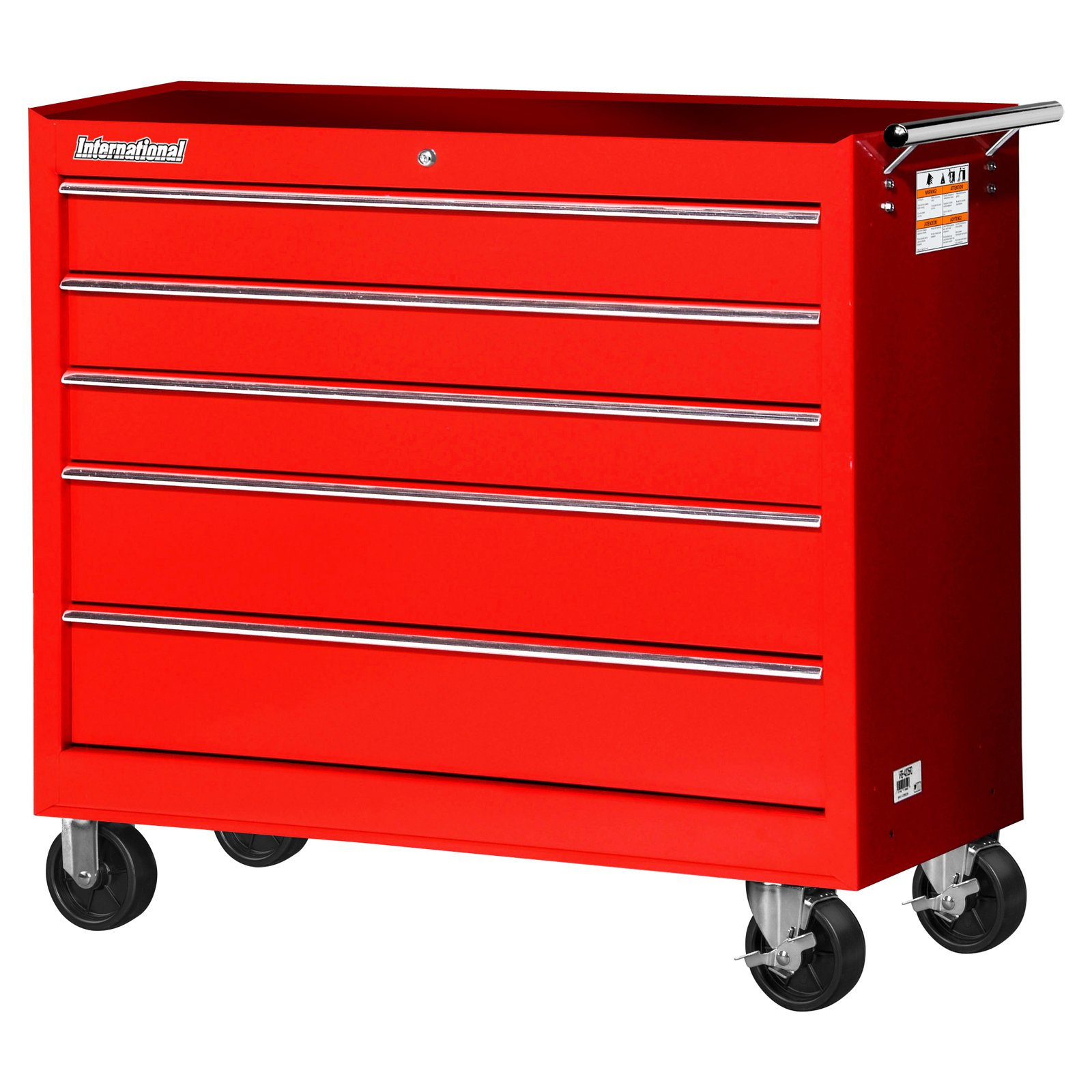 "International Workshop Series 42"" 5-Drawer Ball Bearing Slides Roller Cabinet, Red"