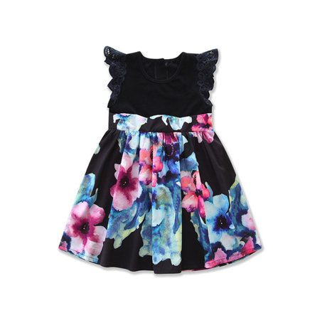 Family Mother Daughter Matching Kids Girls Floral Dress 1-2 Years (Mom Dresses Son As Girl For Halloween)