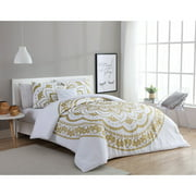VCNY Home Karma Gold/White 3/4-Piece Comforter Bedding Set, Shams and Decorative Pillow Included