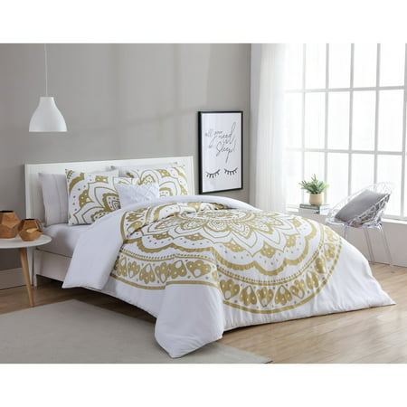 - VCNY Home Karma Gold/White 3/4-Piece Comforter Bedding Set, Shams and Decorative Pillow Included