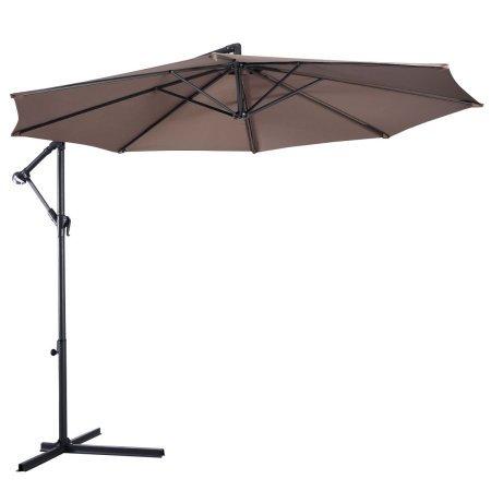 costway 10 39 hanging umbrella patio sun shade offset outdoor market w t cross base tan. Black Bedroom Furniture Sets. Home Design Ideas
