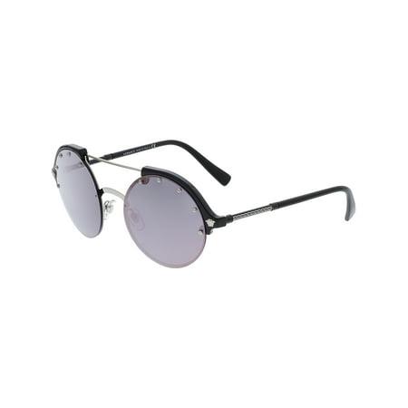 Versace Women's Mirrored VE4337-GB1/5R-53 Purple Round (Versace Round Sunglasses)