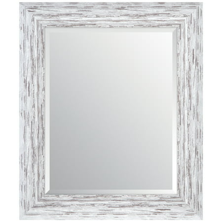 Gallery Solutions 16x20 Distressed White Scoop Framed Beveled Wall Accent Mirror