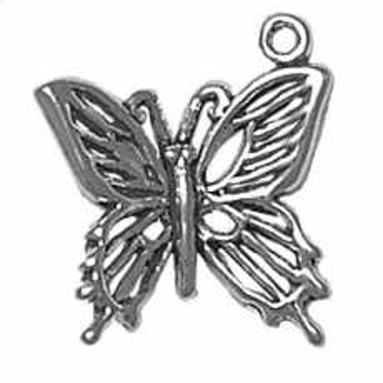 Sterling Silver Girls .8mm Box Chain Solid Butterfly Pendant Necklace