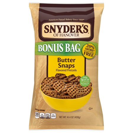 Snyder s of Hanover Butter Snap Pretzels Bonus Bag 14 4 Oz