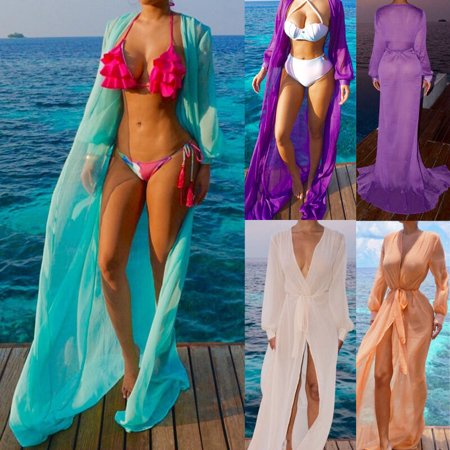 Fashion Womens Boho Chiffon Kimono Shirt Cardigan Long Beach Cover Up Long Maxi