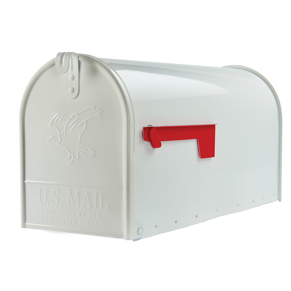 Gibraltar Mailboxes Elite Large Galvanized Steel White Post Mount Mailbox, E1600W00 by Solar Group Inc.