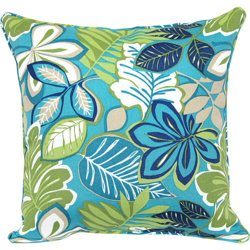 Mainstays Jumbo Cord Outdoor Toss Pillow, Blue Floral