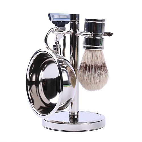 Stainless Steel Shaving Set for Men - Bowl, Brush, and Stand by, Includes bowl, brush, and stand. Razor handle is compatible with Gillette Mach 3 blades (Razor.., By Science Purchase