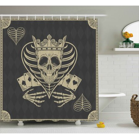 Ambesonne Skull Vector Skull Poker Cards Play Game Scary Horror Image With Crown and Heart Shower Curtain
