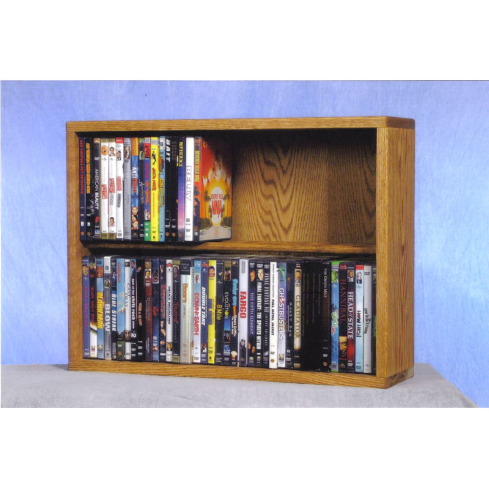 The Wood Shed Solid Oak 2 Row Dowel CD   DVD Combination Media Rack 24 in. Wide by The Wood Shed